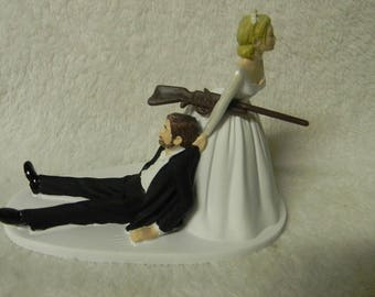 Wedding Reception Party Hunting Groom w Beard Cake Topper