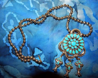 Vintage simulated turquoise necklace with mini squash blossoms