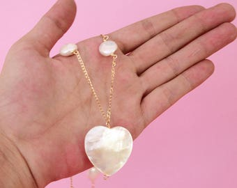 Long necklace, pearl necklace, pearl necklace, pearl necklace, heart pendant necklace, heart of pearl necklace