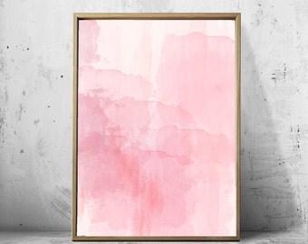 Pink Watercolor Abstract art Print Minimalist art Pink Wall art Large Abstract Printable Poster Nursery Decor Minimal Boho Scandinavian art