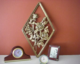 70's Gold Roses Wall Decor, 70's Wall Decor, Gold Roses, 1970's Gold Wall Decor, Diamond Wall Decor