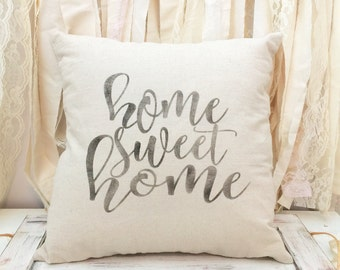 Home Sweet Home pillow cover - housewarming gift - farmhouse pillow - natural canvas - wedding gift