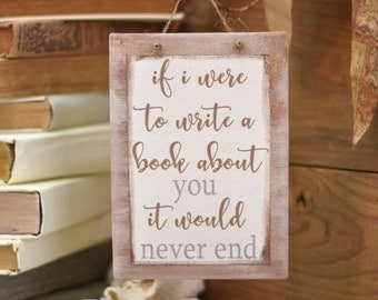 If I were to write a book about you flat canvas - love quote - gift for her - gift for him  - book lovers - readers