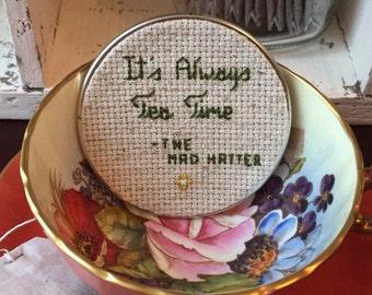 It's Always Tea Time Mason Jar, Mason Jar Decor, Mason Jar Lid, Tea Jar, Cross Stitch Art