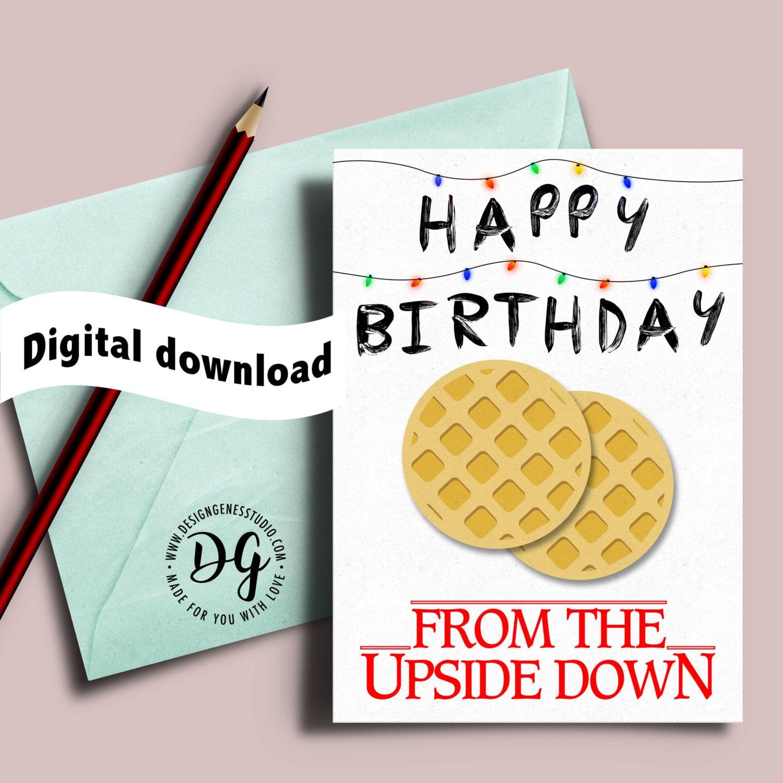 Printable Stranger Things Birthday Card Christmas Lights The
