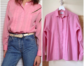 ASCOTT pleated shirt vintage pink collar cotton blouse claudine (S/M-38/40)