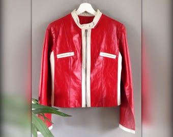 Jacket jacket vintage 90 s leather red and white (M/38)