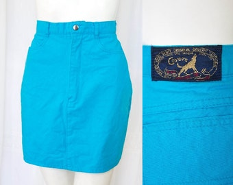 Amazing Vintage blue denim mini skirt 80's 90's 6 8 AUS