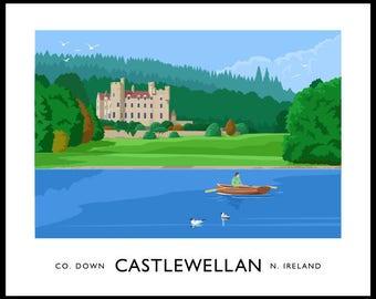 Castlewellan - vintage style railway travel poster art of Ireland