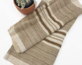 Chinese Hemp/Linen Fabric, vintage Hmong Hill Tribe textile, Natural and Tobacco color stripes.