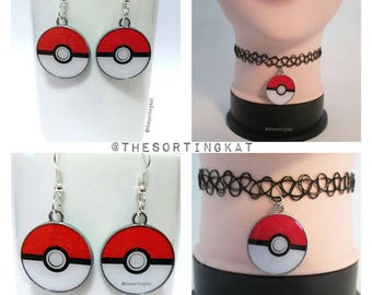 Pokemon - Pokeball Earrings / Pokeball Choker