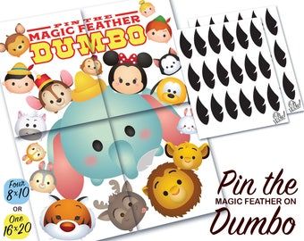 Tsum Tsum Theme: Pin the Magic Feather on Dumbo Party Game Digital File