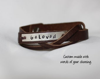 Personalized sterling silver and leather layer bracelet