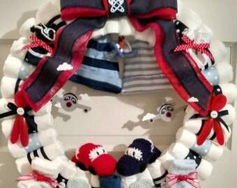 Diaper Wreath, baby diaper wreath, diaper wreath for twins, boy diaper wreath, car diaper wreath, plane diaper wreath, nautical wreath