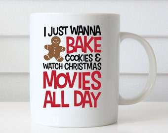Merry Christmas Mug, Christmas Coffee Mug, Christmas Mug, Holiday Mugs, Christmas Gifts, Bake Cookies Watch Christmas Movies Gingerbread Man