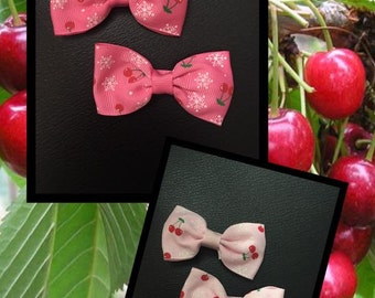 SALE -Set of 2 Cherry hair bows - You pick color!