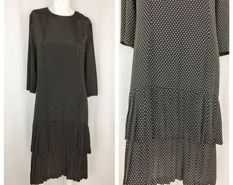 Vintage Polka Dot Drop Waist Dress || 1980s Does 1920s Shift Dress || Black and White Polka Dotted 80s Does 20s Dress