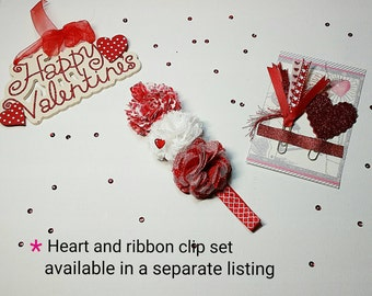 Valentines Day Planner Band, Red heart planner band, red flower planner band,Erin Condren planner band Happy Planner band