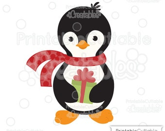 Penguin Holding Christmas Present SVG Cut File & Clipart E215 - Includes Limited Commercial Use!