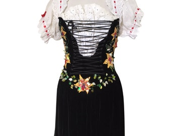 Traditional Black Velvet Vintage Folk Peasant Dress with Lace Up Front, Lace Sleeves and Floral Embroidery