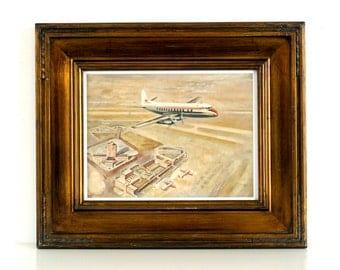 Mid Century - Aviation Art - 1960's - British European Airways - Airplane Painting - Watercolour Painting - Signed