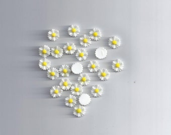 10Pcs White Resin Flower Beads Cabochon Scrapbook Fit Phone (195)