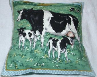 On the Farm Friesian Cow and calves cushion