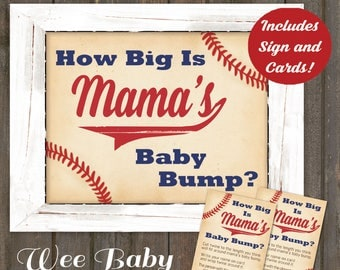 Baseball Baby Bump Game Sign and Cards