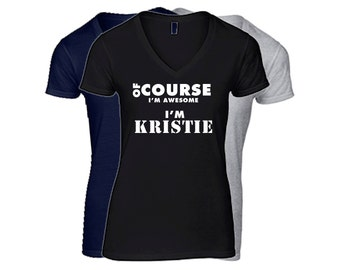 KRISTIE Womens First Name V-NECK T Shirt First Name Family Name Custom Personalized Name T-Shirt