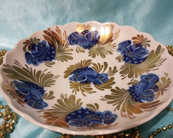 "Lomonosov large dish ""Gold garden""  Russian Porcelain VERY RARE!!"