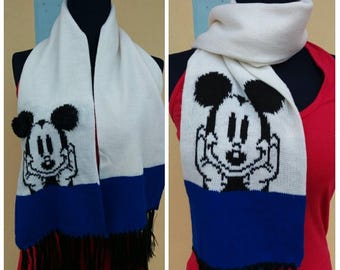Vintage scarf Mickey mouse,  Disnep, Minnie, While  Black and Blue,   Beautiful, Front and back Mickey, Two side Mickey.