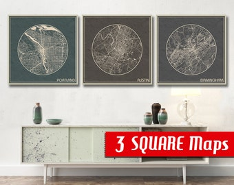 3 SQUARE Maps for your choice Austin Chicago Columbus Portland Birmingham City Maps and more overe: ANY 3 city maps printed on canvas