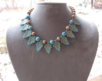 Turquoise and Brown (Tan) Necklace and Earring Set.. With Leaf Design