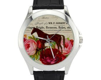 Horse Watch - Horse Roses Watch - Horse Lover Gifts - Red Roses Watch - Vintage Horse - Pink Roses Watch - Animal Watches - Women's Watches