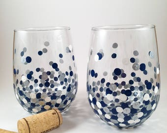Navy, Silver and White Confetti Stemless Wine Glass