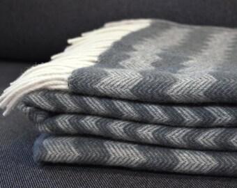 Natural grey wool blanket, wool Throw Blanket, Chunky Wool Throw, gift wool, Wool Plaid Blanket