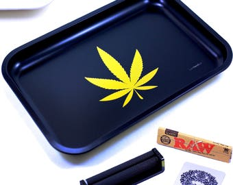 "Full Size Rolling Tray – 12"" x 8"" Black Tray + 110mm Rolling Machine + King Size Raw Rolling Papers  + Loader – Lionhead"