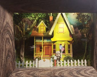 Up House with Carl - LIGHTED - Disneyland, California Adventure, Up House, Up, 3D, Shadowbox, Original, One-of-a-Kind, Handmade