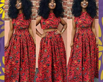 African Crop Top and Maxi Dress, African Clothing, Women's Clothing, Ankara Crop Top and Maxi Skirt