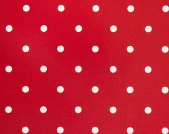 Oilcloth Fabric, PVC coated, Red Spot, Per Meter