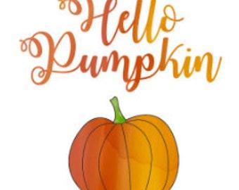 Hello Pumpkin Watercolor Digital Download