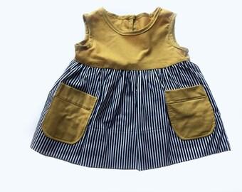 Sookie Sleeveless Dress, baby dress, baby tunic, mustard and black and white stripe baby dress, baby girl dress, toddler dress, baby tunic