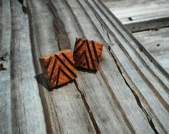 Carved Oak Earring