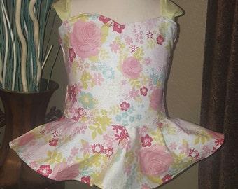 Floral peplum top, floral ruffle top, flower peplum top, floral tie back top