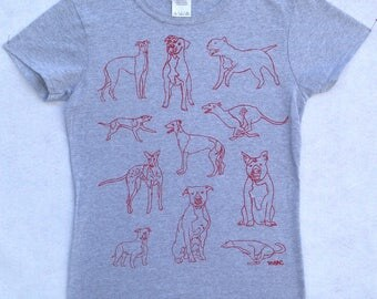 Pit Bull Tee Shirt- Greyhound Tee Shirt- Dog Tee Shirt- Pit Bull Gift- Greyhound Gift-  Dog Tee- Dog Lover Gift- Hand Drawn- Screen Print
