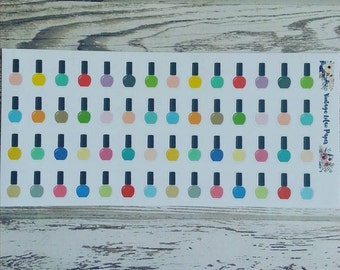 56 Multi Color Nail Polish Planner Stickers