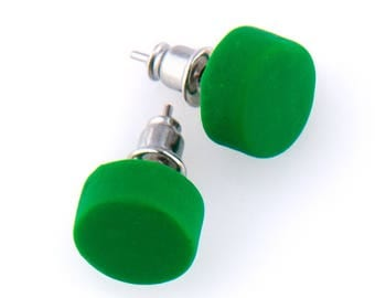 Earrings Studs Polymer Clay Bright Vibrant Colours - Bottle Green