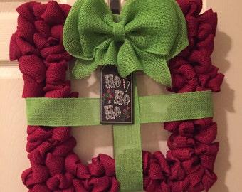 Present Wreath, Red, Burlap, Christmas, Wreath, Front Door Wreath, home decor,gifts