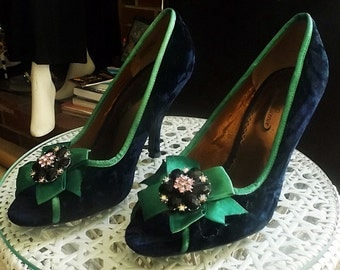 Poetic Licence, Blue Crushed Velvet Jeweled Pumps