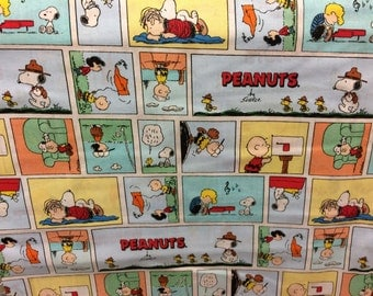 Peanuts Gang Charlie Brown Snoopy comic book style fabric, novelty fabric, Snoopy fabric, Charlie Brown fabric
